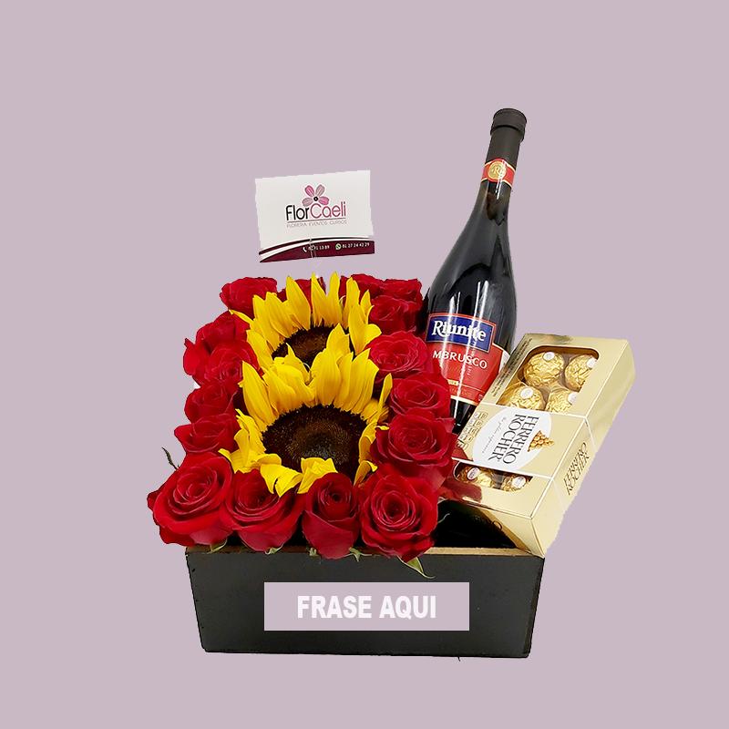 Caja con Rosas, Girasoles y Vino